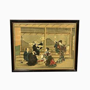 Asian Framed Painting on Silk, 1900s