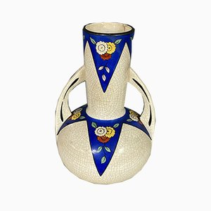 Art Deco Vase mit Krakelee Muster, 1920er