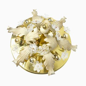 Vintage Hollywood Regency Deckenlampe in Blumenform mit Glasblumen
