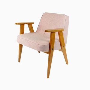 Vintage Pink Wool Model 366 Armchair by Józef Chierowski, 1960s