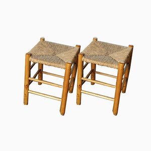 Mid-Century N°17 Straw Stools by Charlotte Perriand for L'Equipement de la Maison, Set of 2