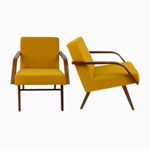 Butacas vintage amarillas, años 60. Juego de 2