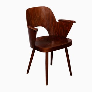 Vintage Wooden Armchair by Lubomir Hofmann for TON, 1960s