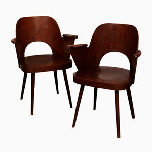 Vintage Wooden Armchairs by Lubomir Hofmann for TON, 1960s, Set of 2
