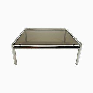 Coffee Table with Chrome Tubular Base & Smoked Glass, 1970s