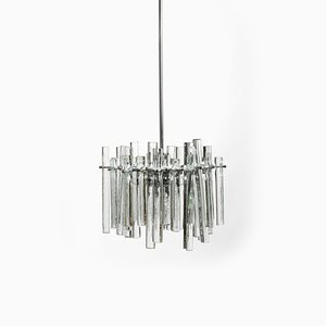 Chrome Chandelier with Thick Crystal Glass Rods from Kinkeldey, 1970s