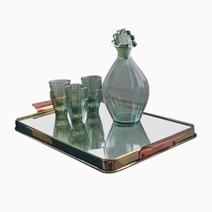Art Deco Shot Glasses with Decanter on Serving Tray, 1950s, Set of 8