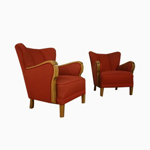 Vintage Danish Cabinetmaker Upholstered Wing Back Lounge Chairs, Set of 2