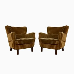 Vintage Danish Velour Wingback Armchairs, Set of 2