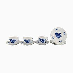 Blau Floraler Gefliester Kaffee Service von Royal Copenhagen für Three People, 9er Set