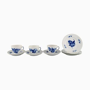 Royal Copenhagen Blue Flower Braided Coffee Service for Three People, Set of 9