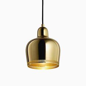 Lampe à Suspension Golden Bell en Laiton par Alvar Aalto