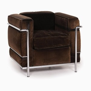 Vintage Tubular Steel & Dark Brown Cord Fabric LC2 Armchair