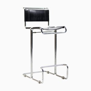 Chrome and Leather Barstool