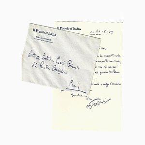 Lettre Autographe Signée par Pirazzoli à la Comtesse Al Pecci-Blunt - 1937