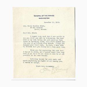 John Joseph Pershing - Lettre Confidentielle par le Général des Armées - 1920