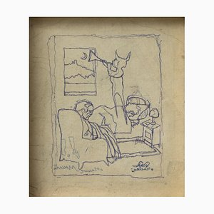 Mino Maccari - the Dream - Dessin à Plume Original - 1950s