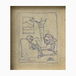 Mino Maccari - the Dream - Original Pen Drawing - 1950s