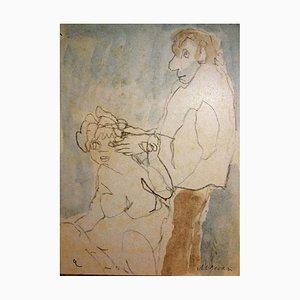 Mino Maccari - Couple - Original Watercolor and Pencil - 1980