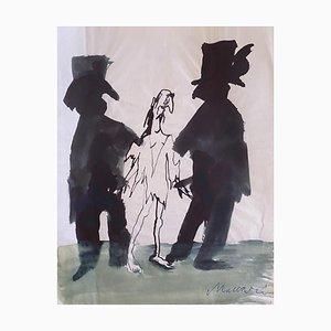 Mino Maccari - the Prisoner - Original ink and Watercolor - 1965