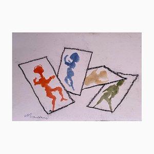 Mino Maccari - Shadows - Original Bleistift und Aquarell - 1965