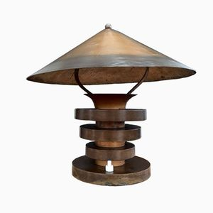 French Modernist Metal Table Lamp by Edmond Etling, 1930s