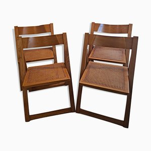 Beech and Cane Trieste Folding Chairs by Aldo Jacober & Pierangela, Set of 4