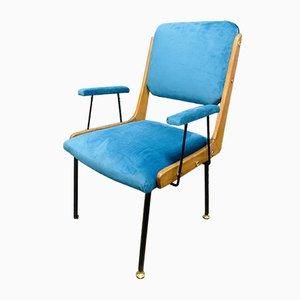 Wood & Velvet Studio Lounge Chair, 1960s