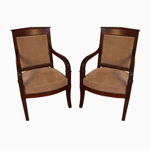 Empire Mahogany Armchairs, Set of 2