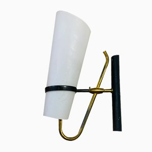 Opalglas & Messing Wandlampe, 1960er