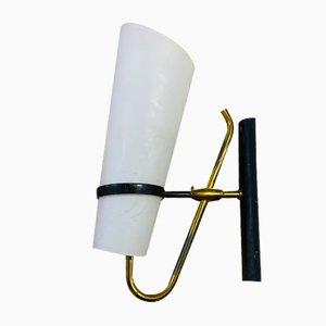 Opaline Glass & Brass Sconce, 1960s