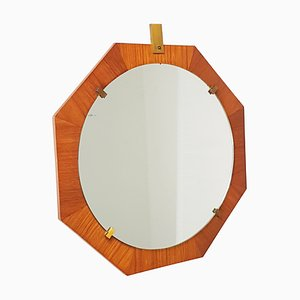 Italian Brass and Teak Wall Mirror, 1960s