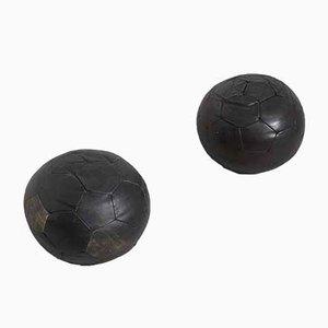 Swiss Leather Poufs from de Sede, 1970s, Set of 2