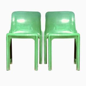 Italienische Grüne Selene Esszimmerstühle von Vico Magistretti für Artemide, 1960er, 4er Set