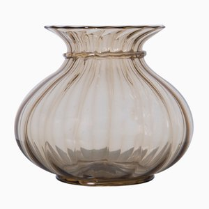 Vaso in vetro di Murano marrone di Paolo Venini, Italia, 1925