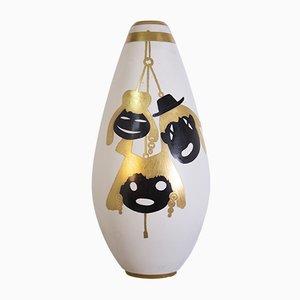Gold & Porzellan Vase von Arrigo Finzi, 1950er