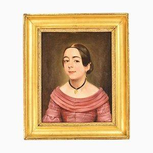 Portraitmalerei, Mädchen mit Ohrring und Kette, Deutsches Ölgemälde, 19. Jh