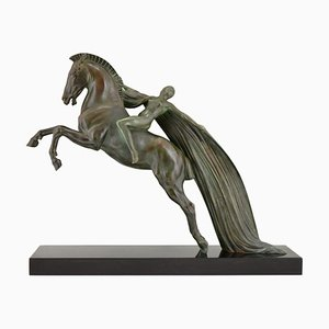 Charles Charles for Max Le Verrier, Female Nude on a Rearing Horse, 1930s, Art Deco Sculpture