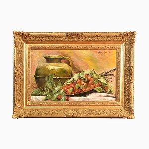 Cherrier mit Vase aus Kupfer, 19. Jh., Ölgemälde auf Leinen