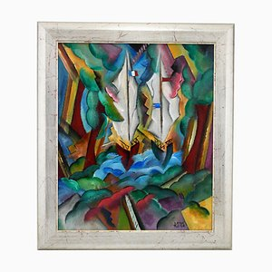 Patrick Leroy, Art Deco Style Landscape with Sailing Boats, Painting