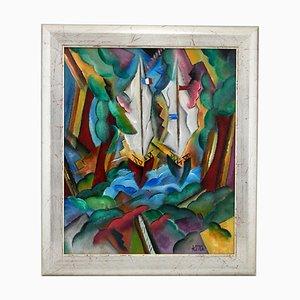 Patrick Leroy, Landschaft im Art Deco Stil mit Segelbooten, Gemälde