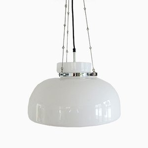 German Chrome & White Glass Pendant Lamp by Herbert Proft for Glashütte Limburg, 1970s