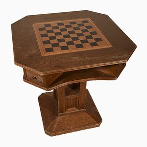 Octagonal Italian Oak Game Table, 1970s