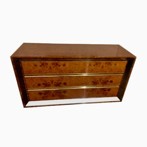 Vintage Burr Walnut & Brass Chest of Drawers by Willy Rizzo