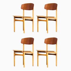 Mid-Century 122 Esszimmerstühle aus Teak & Buche von Børge Mogensen für Søborg Møbelfabrik, 4er Set