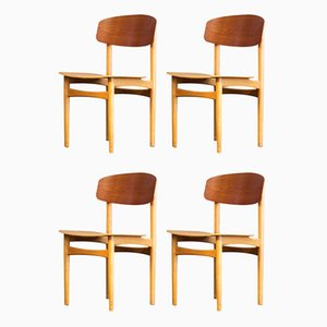 Mid-Century Teak & Beech 122 Dining Chairs by Børge Mogensen for Søborg Møbelfabrik, Set of 4