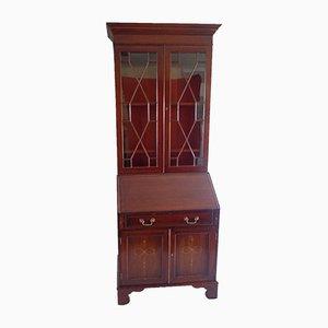 Mueble inglés antiguo de vidrio con secreter, hacia 1900