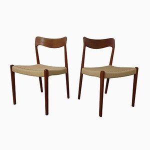 Dänische Papierkordel Teak Stühle, 1960er, 2er Set