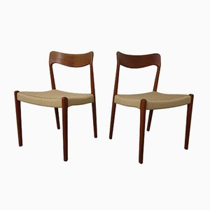 Danish Paper Cord Teak Chairs, 1960s, Set of 2