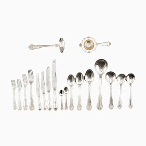 Antique Norwegian Silver Flatware for 12 People, Set of 150